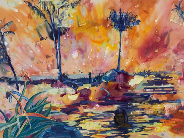 Tropical resort scene painted in think, loose, and brightly colored strokes.