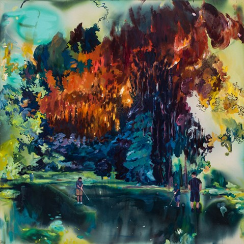 Men play golf in the foreground as a giant wildfire rages behind them, painted in an expressionistic and semi-abstract way.