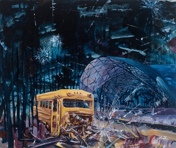 Dark skies loom above a broken down school bus and a futuristic ampitheater