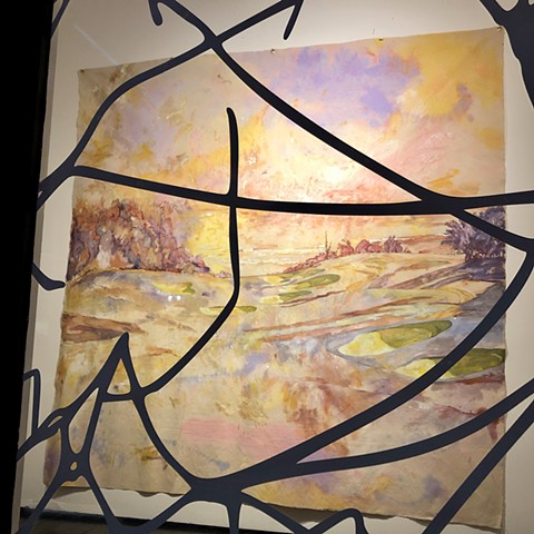 Tangled fence design obscures the view of a painting, painted in a high-key palette of a dreamy landscape painted in oils and acrylic stains, representing a golf course overlooking the ocean.