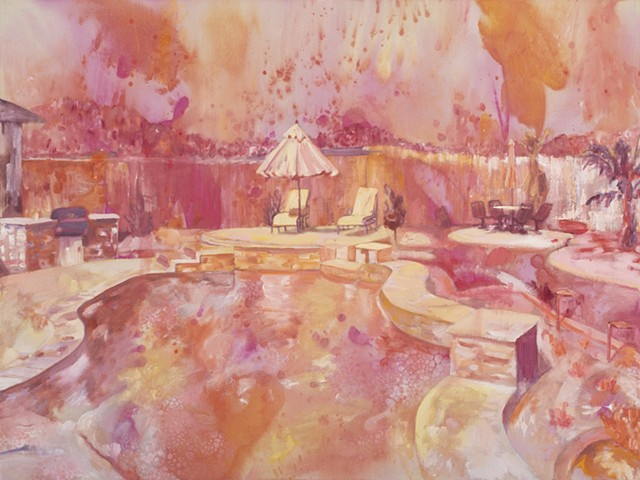 High-key expressionistically painted image in warm colors, representing a sun-bleached and idyllic private back patio and pool
