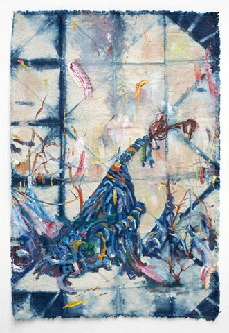 Tree form covered and drooping under multi-colored dyed rags and clothes