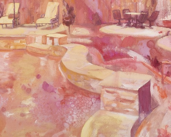 High-key painting expressionistically painted in warm colors, representing a sun-bleached and idyllic private patio with a pool