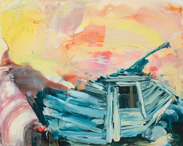 Driftwood structure in colorful tumult of oil paint