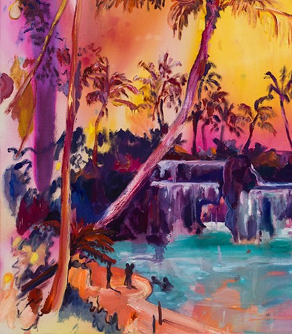 Fantasy tropical landscape with painterly warm colors stained, daubed and brushed expressionistically painted idyllic resort with lagoon and waterfall.