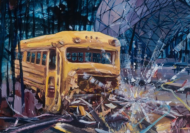 Detail of an oil painting of a dilapidated school bus in a chaotic landscape.