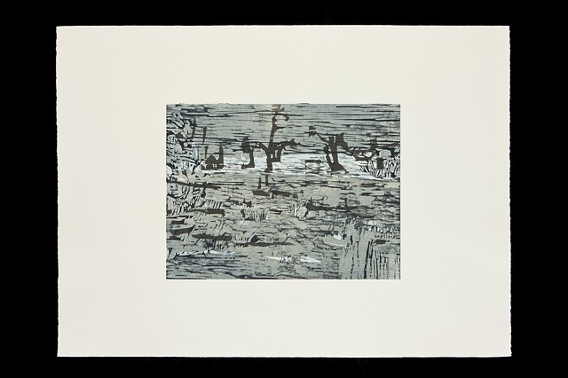South Dakota landscape, monoprint