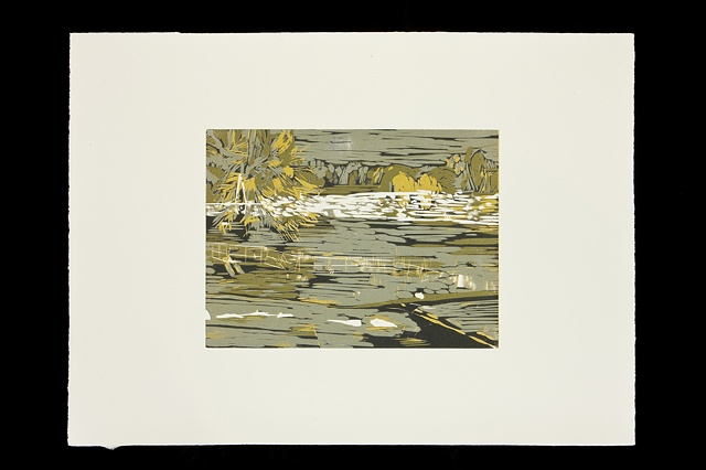 yellows and greens, river landscape