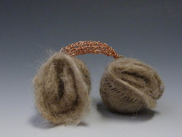 felted wool and knitted copper wire artwork