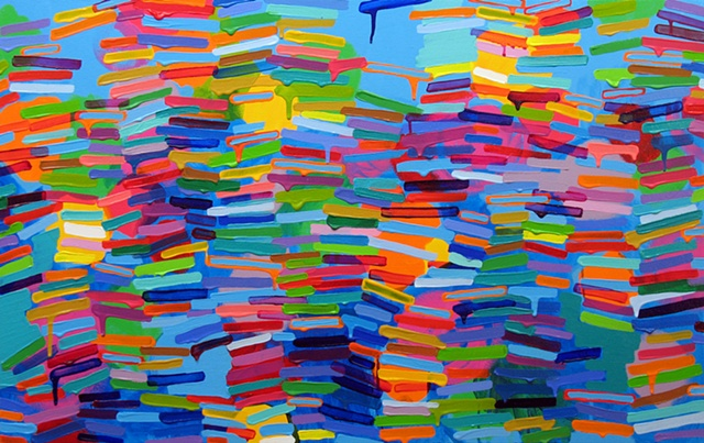 Martina Nehrling, Strawberry Blue, 24 x 38 in., acrylic on canvas, 2011