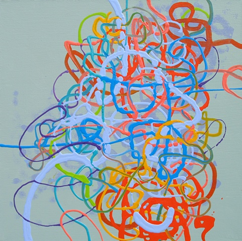 Martina Nehrling, Hullabaloo, 20 x 20 in., acrylic on canvas, 2006