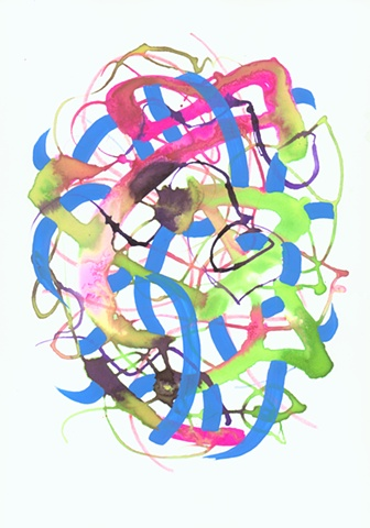 Martina Nehrling, Matter of Happiness, 12H x 9L, ink on paper, 2006