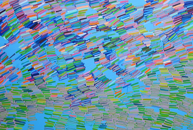 Martina Nehrling, Murmuration, 48H x 72L, acrylic on canvas, 2011
