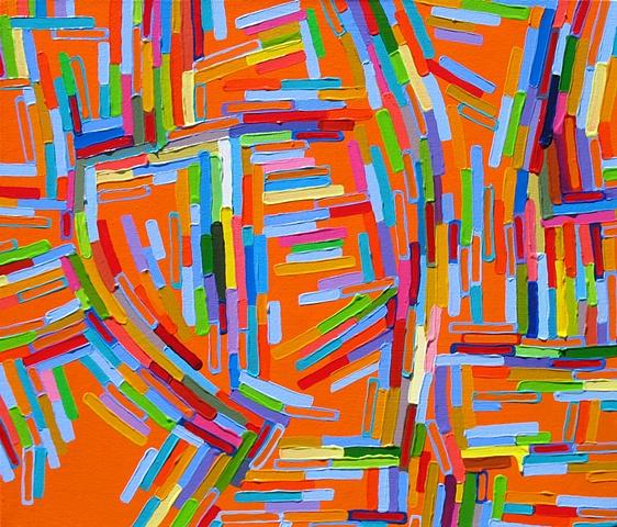 Martina Nehrling, Crux, acrylic on canvas, 25 H x 28.5 L, 2008