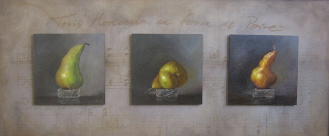 three pieces in the shape of a pear, after e. satie