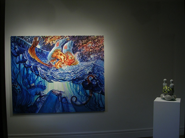 "Installation shot: ""Aqua-Calamity"", Jeremy Somer, on the left and ""Object Pair #5, Spore Series"", Sarah Hicks, on the right."
