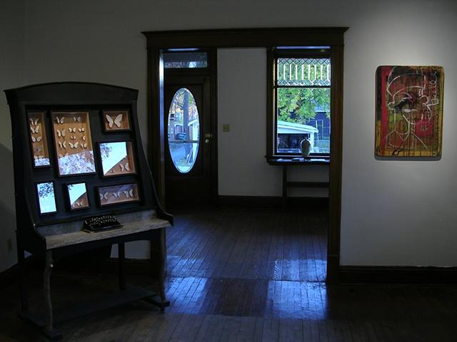 "Installation shot:  ""Abecedarium Lepidoptera: On Naming and Description in a Dead Language"", Chris Miller, 2006, left  ""Popeye"", Jeremy Price, 2009, right"