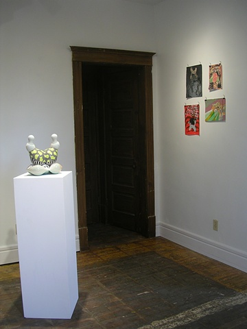 "Installation shot:  ""Object Pair #5, Spore Series"", Sarah Hicks, on the left, ""Untitled"", Jeremy Price, on the right."