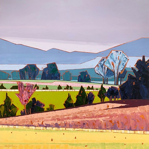 landscape painting, abstract landscape painting, contemporary landscape, mountains, farmland, Shenandoah Valley, Virginia