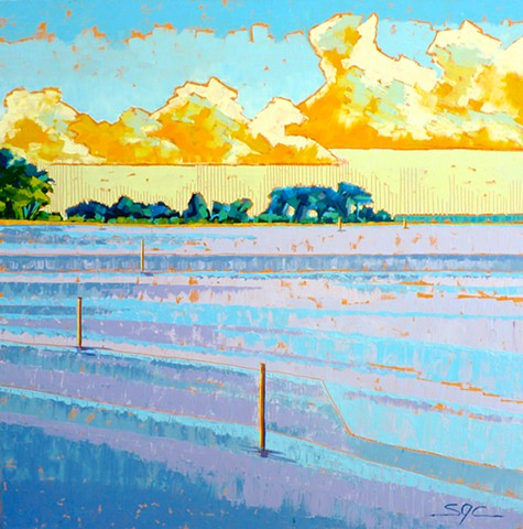 landscape painting, water painting, coastal painting, oil painting of the coast of Virginia, painting by Sarah Gayle Carter