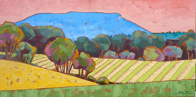 landscape painting, colorful landscape, House Mountain, farmland, Rockbridge County, Shenandoah Valley, Virginia