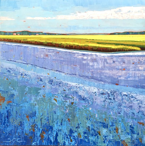 landscape painting, abstract landscape painting, contemporary landscape, painting of marshland, waterscape, painting of Virginia Tidewater, Lynhaven Inlet