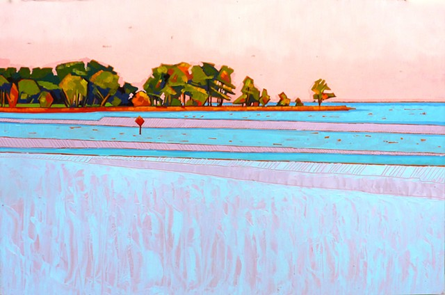 landscape painting, colorful landscape, abstracted landscape, Virginia landscape painting, painting of tidewater Virginia, York River, Gloucester County, Virginia