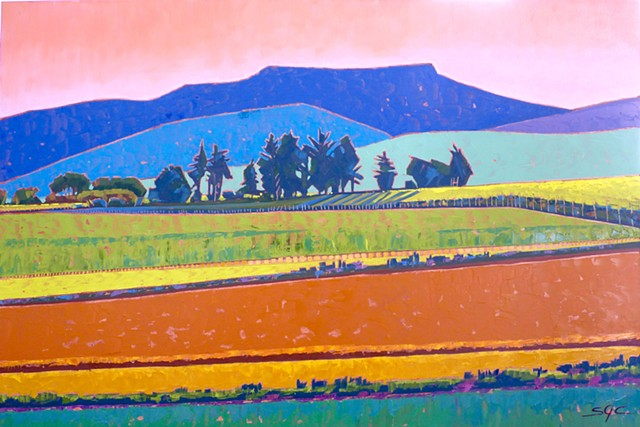 landscape painting, abstract landscape painting, colorful landscape, farmland, Rockbridge County, Shenandoah Valley, Virginia