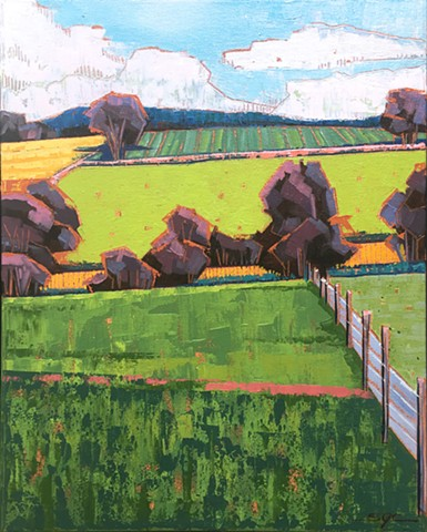 landscape painting, abstract landscape painting, contemporary landscape, farmland, Rockbridge County, Shenandoah Valley, Virginia