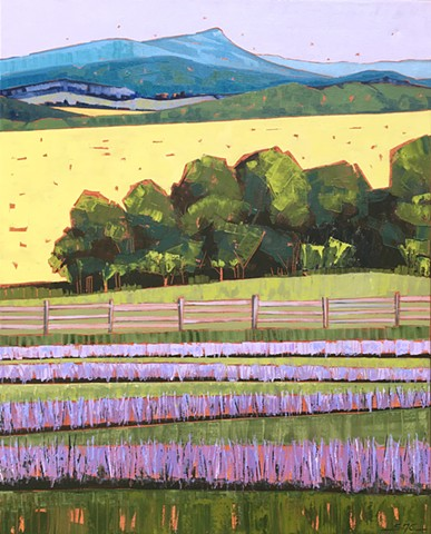 landscape painting, abstract landscape painting, contemporary landscape, lavender farm, farmland, Rockbridge County, Shenandoah Valley, Virginia