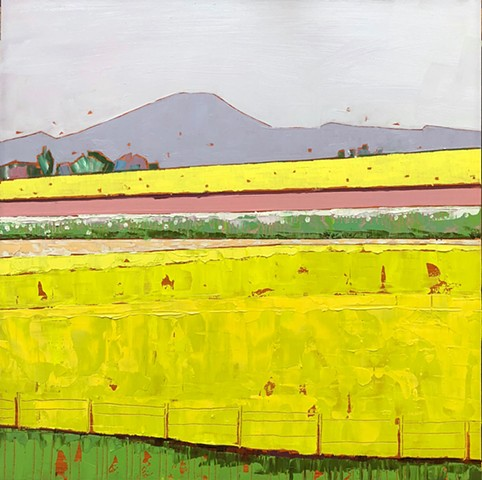 landscape painting, abstract landscape painting, contemporary landscape, mountains, farmland,