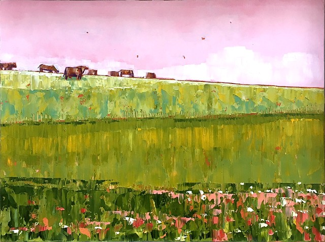 landscape painting, landscape with cows, colorful landscape, abstract landscape painting, farmland, Rockbridge County, Shenandoah Valley, Virginia