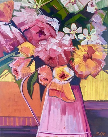 flowers, flower painting, still life with flowers, contemporary painting of flowers