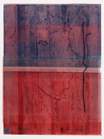 Abstract monoprint, reds and blues dominant colors