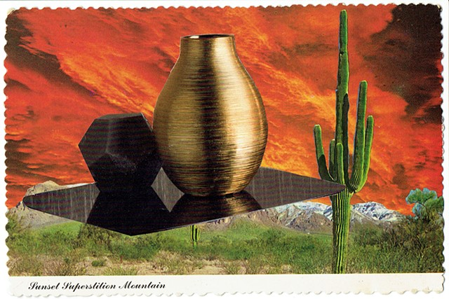 Sunset Superstition Mountain and le Corbusier Wall Covering Vase 1978/2015