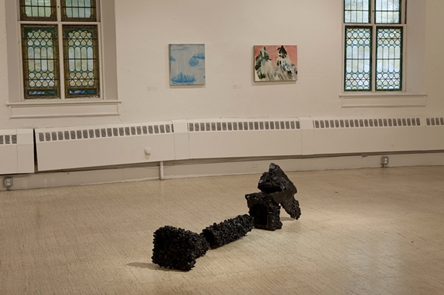 Installation Shot of work by Marisa Tesauro and Clare Grill (photo credit Peter Vanderwarker)