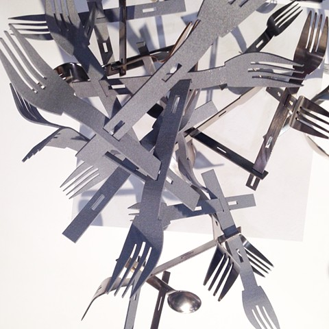 'Playware Cutlery' sculpture installation at Toronto's Interior Design Show IDS