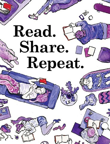 Read. Share. Repeat. Feature illustration for City Arts Magazine.