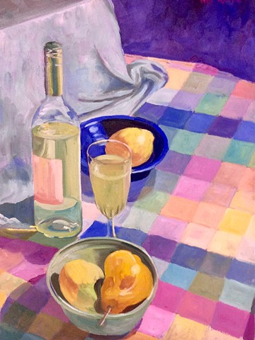 Wine, Fruit and Checkered Tablecloth