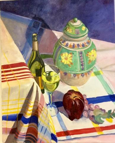 Decorative Jar, Wine & Apple