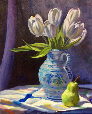 Tulips, Pitcher, and Pear