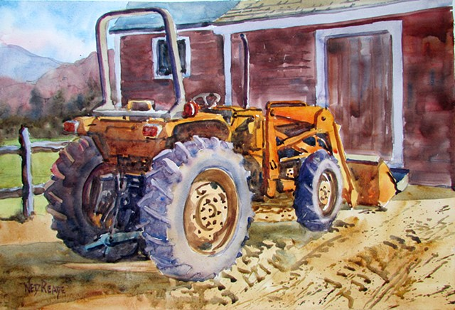 This tractor is ready for the fields. Complex subject with many abstract qualities.