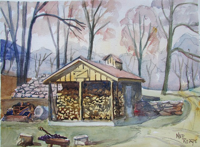 Rock walls and an old foundation surround this sugar shack.