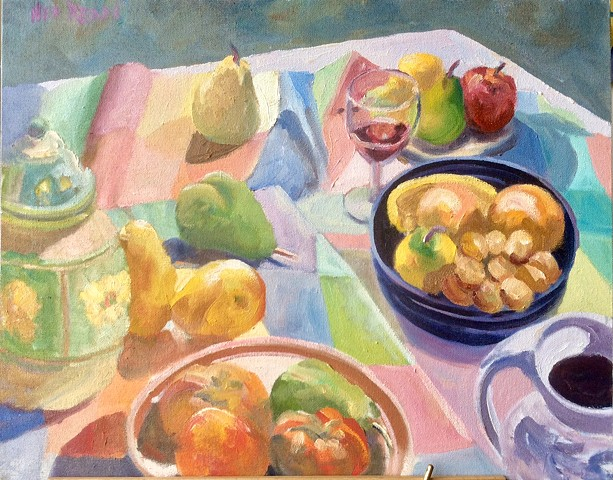 Fruit, Blue Bowl and Jar