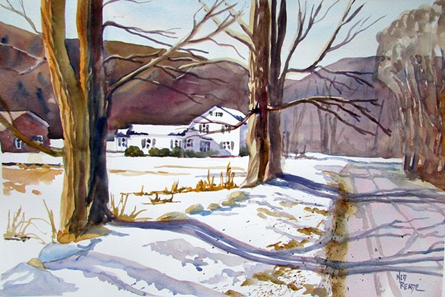 The solitude of a dirt road in winter with a placid farmhouse speaks of serenity.