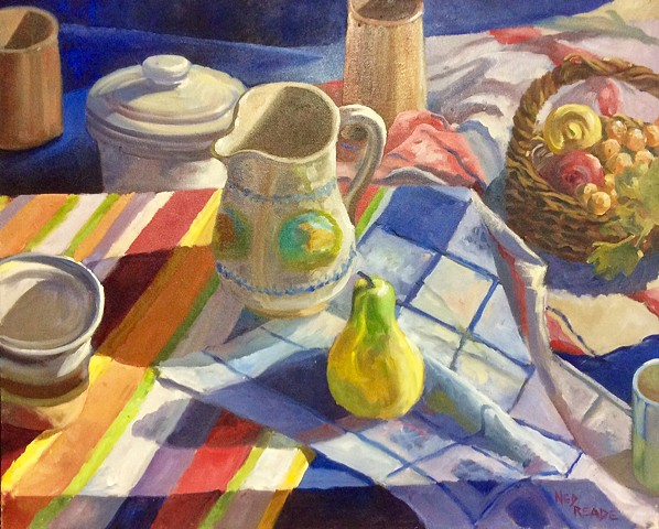 Pear,  Fruit Basket  and  Crockery