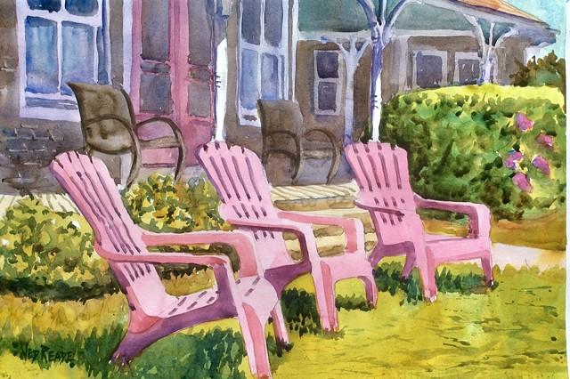 Three Pink Summer Chairs