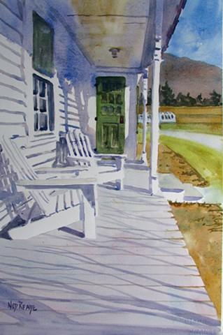 Adirondack Chairs Soaking Up the Sun