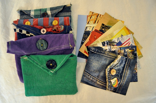 Kickstarter rewards: sets of 10 postcards with Stuff Hero images in handmade pouch