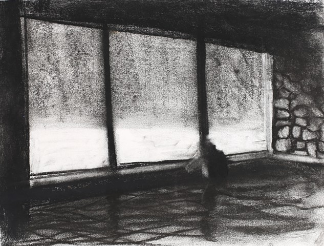 charcoal drawing interior hot springs solitude